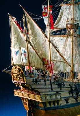 35-8 サンチャゴ   SAINTYAGO   年代   1540     船籍  スペイン    縮尺 1/75     素材   自作   Scratch built    製作者  村石 忠一  Tadaichi Muraishi