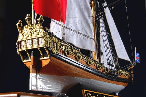 36-15   チャールズ・ヨット CHARLES YACHT   年代   1674     船籍  イギリス    縮尺 1/64     キットメーカー ウッディジョー Woody Joe     製作者  倉谷 恭平  Kyohei Kuratani
