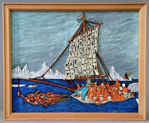 31-46 レリーフ オランダの画家ヤン・サンダースの画集「Les gars de la marine」より  スクラッチビルト 宮島俊夫 Toshio Miyajima