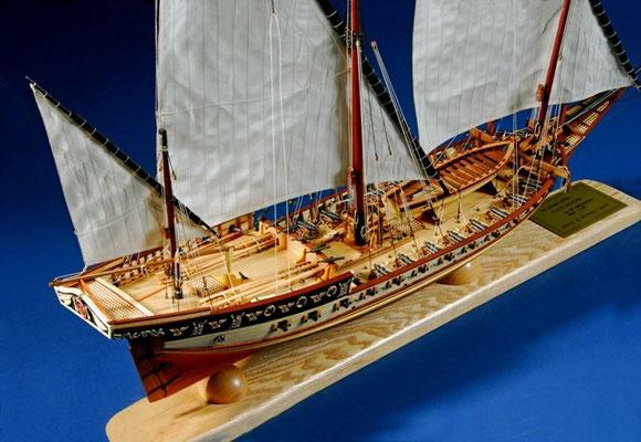 35-18 カサドール CAZADOR   年代   18世紀     船籍  スペイン    縮尺 1/60     キットメーカー  アークレー OcCre     製作者  三上 裕久  Hirohisa Mikami