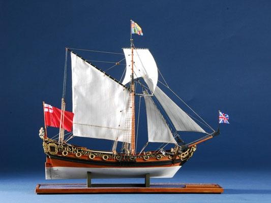 35-53 チャールズ・ヨット CHARLES YACHT    年代   1674     船籍  イギリス    縮尺 1/64     キットメーカー ウッディジョー Woody Joe     製作者  塩谷 敏夫  Toshio Shioya