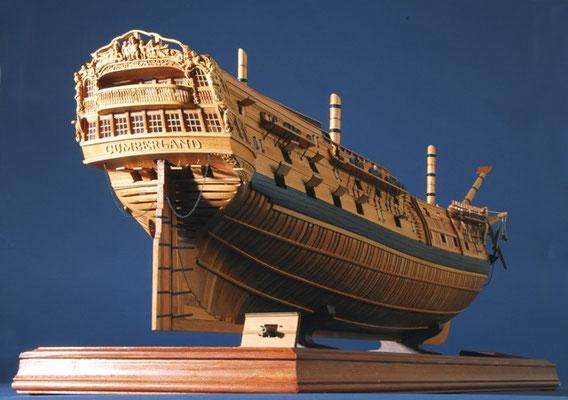 35-46 カンバーランド HMS CUMBERLAND  年代   1774     船籍  イギリス    縮尺 1/60     素材   自作   Scratch built    製作者  土屋 勝司  Katsuji Tsuchiya