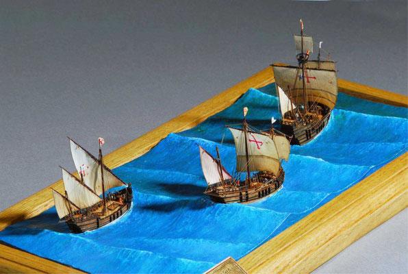 29 コロンブスの船団  The Ships of  Columbus  年代:    1492年  製作者:   坪井悦郎  製作期間:10ヶ月   ジオラマ