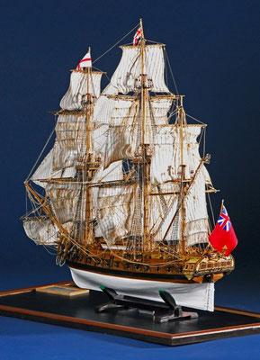 35-20 アジャックス  HMS AJAX   年代   1765     船籍  イギリス   縮尺 1/38     キットメーカー ユーロモデル EUROMODEL     製作者  豊栖 亨(一般)  Tooru Toyosu