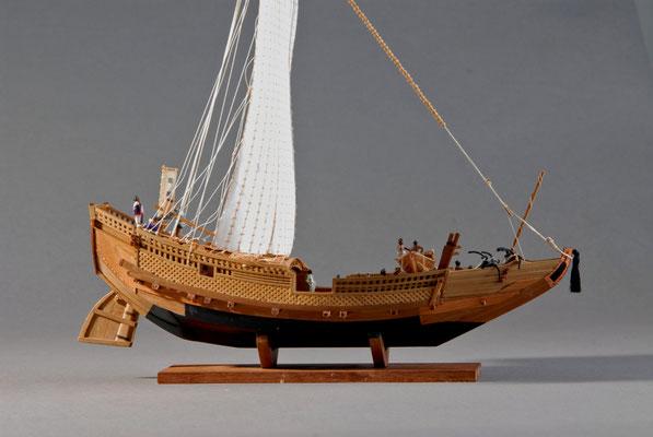 40    菱垣廻船    Higaki-kaisen 年代:  18世紀   船籍: 日本  縮尺:  1/100    スクラッチビルト  製作者:田中武敏  製作期間: 2年