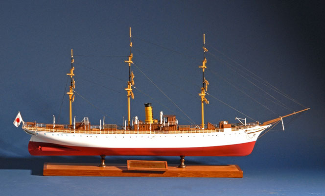 52    明治丸    MEIJI-MARU  年代:   1874(1988改修後) 船籍:日本  縮尺:   1/96    スクラッチビルト   製作者: 赤道達也  製作期間:  2年