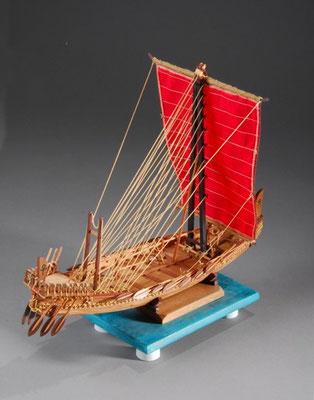 34-4 エジプト古代船 Ancient Ship of Egypt   国 籍   nationality     エジプト 建造年  age     BC2500 縮 尺   scale  1/50  製作方法 kit 小林 忠雄 Tadao Kobayashi