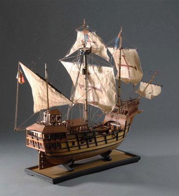 36-1 アトランチカ ATLANTICA | ポルトガル| 16世紀初| 1/54| Scratchbuilt| 谷亀 隆興| 大西洋を中心に活躍したポルトガルの商船。16世紀から大航海時代に主流になって活躍するガレオン船の前の船種であるキャラック船。種子島に鉄砲を伝えた船と同種と言われている。