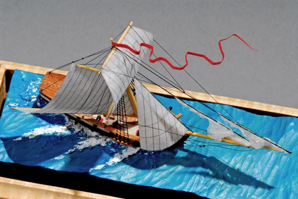 34-61 Mediater-Colonial American Sloop  国 籍   nationality     アメリカ 建造年  age     1742 縮 尺   scale     1/384 製作方法 kit or scratchbuilt     自作  製 作:ガス・アガスチン  Gus Agustin