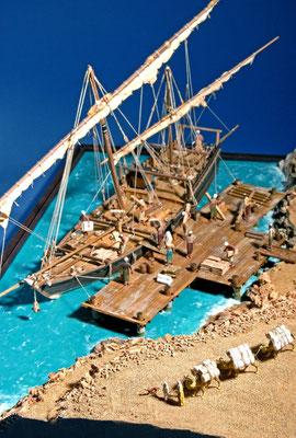 38    ダウ    Dhows Ship  年代:   16世紀   船籍: アフリカ、中近東  縮尺:   1/50    スクラッチビルト  製作者: 肥田 純   製作期間: 6ヶ月