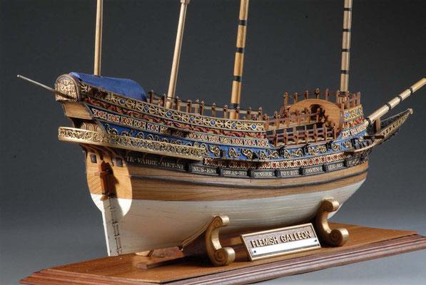 36-7 フランダースのガレオン船 Flemish Galleon  1593年 ベルギー  1/75 自作  Scratchbuilt  津久居廣 Hiroshi Tsukui