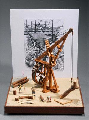 32-31 ドックヤード・クレーン dockyard crane  年代: 18世紀  製作者:    関口正巳  製作期間: 3ヶ月   ジオラマ