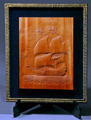 32-37 レリーフ「ヴァーサ」Relief VASA  年代:   1628年  製作者:  上野宣孝  製作期間:5ヶ月  レリーフ