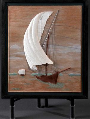 36-47 霞ヶ浦の帆引き網船(額タイプ)  Hobikihune 1880年 日本  1/22  自作 Scratchbuilt  小林 忠雄 Tadao Kobayashi