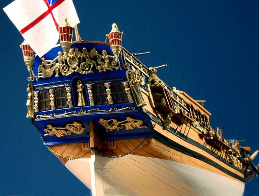 14 ロイヤル・キャロライン ROYAL CALOLINE  年代:    1749   船籍: イギリス  縮尺:    1/47    マンチュア   製作者: 牧野忠孜   製作期間:1年