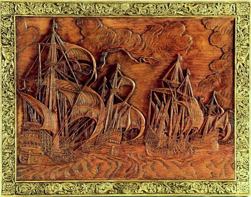 35-51  レリーフ   帆船  年代   16世紀     船籍  フランドル        素材   自作   Scratch built    製作者  宮島 俊夫   Toshio Miyajima    フランドルの画家が描いた帆船を参考にしたレリーフ。
