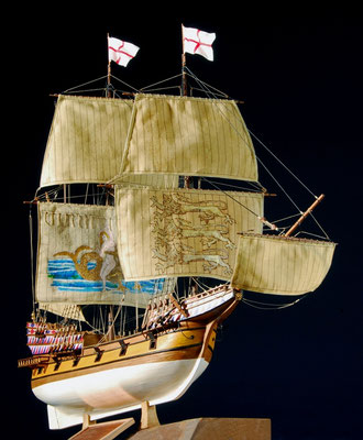 35-10 エリザベスのガレオン   ELIZABETH GALLEON   年代   16世紀後半    船籍  イギリス    縮尺 1/75     キットメーカー アマティ  amati    製作者  赤道 達也  Tatsuya Akamichi