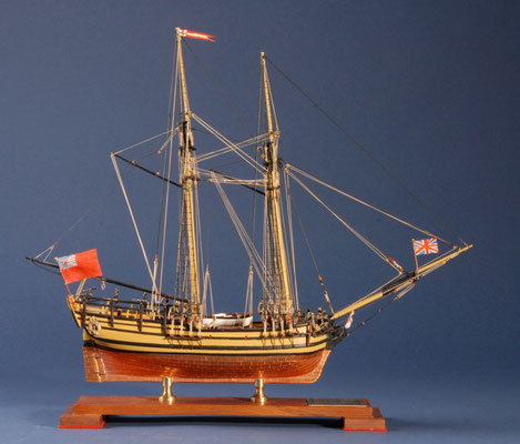 15 サルタナ SULTANA  年代:    1767   船籍: イギリス  縮尺:    1/64    モデル・シップウェイ   製作者:  肴倉 忠    製作期間:10ヶ月