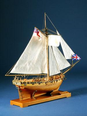 35-16 レゾリューション  HMS RESOLUTION   年代   18世紀初     船籍  イギリス    縮尺 1/50     キットメーカー コーレル COREL     製作者  高橋 利夫   Toshio Takshashi