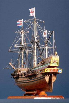 3 ゴールデン・ハインド GOLDEN HIND  年代: 1577年  船籍: イギリス  縮尺: 1/53    マモリ社キット  製作者:浦村達也  製作期間:2年