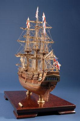 21 バウンティ H.M.S BOUNTY  年代:    1787   船籍: イギリス  縮尺:    1/64    マモリ  製作者:  松下利夫   製作期間: 9ヶ月