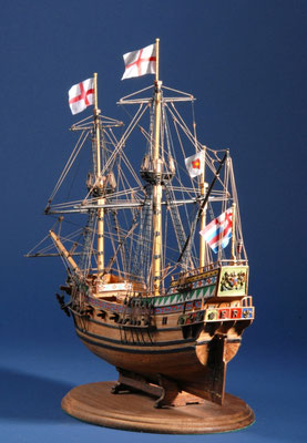 4 ゴールデン・ハインド GOLDEN HIND  年代: 1577年  船籍: イギリス  縮尺: 1/53    マモリ社キット  製作者:森田慎一  製作期間:1年