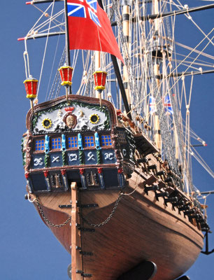 11 ネプチューン H.M.S NEPTUNE  年代:    1692年  船籍:  イギリス  縮尺:    1/90    コーレル  製作者:  松原 満   製作期間:1年2ヶ月