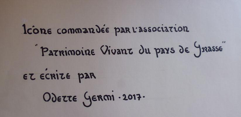 essai sur papier - texte écrit au dos de l'Icône en lettres d'or - onciale 4e au Xe siècle