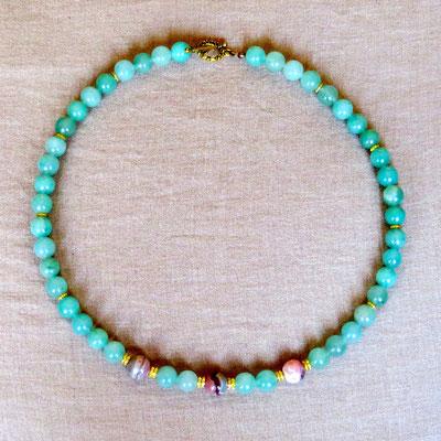 6. Halskette: Jade und Rhodochrosit; 50 cm; CHF 85.