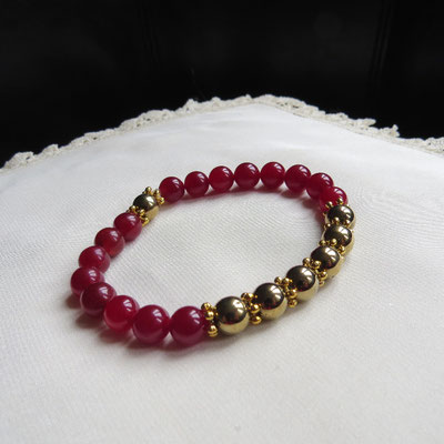 47. Bracelet : Agate rouge & Pyrite ; CHF 30.