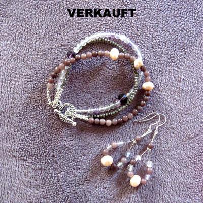 94. Armband & Ohrringe, Silber: Rauchquarz, Fluorit, Jaspis & Rosa Perlen; CHF 70.