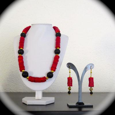 56. Collier (45 cm) & Boucles d'oreilles(5 cm) : Corail & Lave ; CHF 90. & CHF 25.