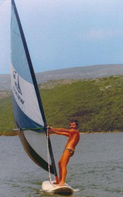Pula, erste Begegnung mit einem Surfbrett