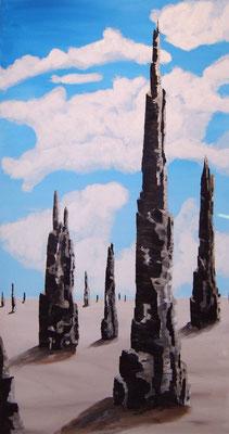 Phantasie-Landschaft, Acryl, 90x170 cm