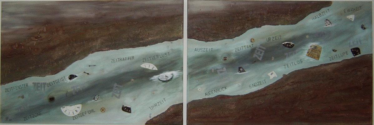 Fluss der Zeit, Applikation, Mischtechnik, 120x240 cm