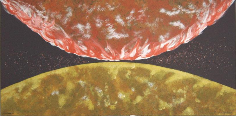 Annäherung, Acryl, Farbchips, 160x80 cm