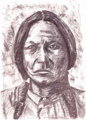 Indianer, Kohlezeichnung, DIN A4