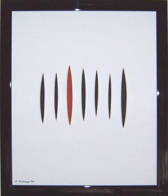 Bild mit Schlitzen, Applikation, Acryl, 55x65 cm