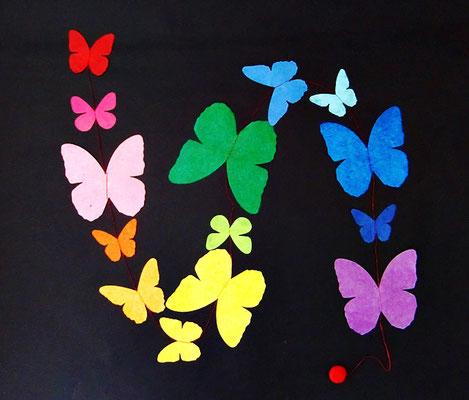 Schmetterlinge groß bunt (auch in blau, grün, rot, Batik)