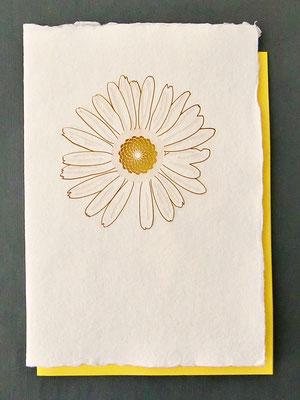 Karte aus Baumwollbütten mit gelasertem Motiv Blüte - KBaW06