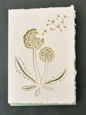 Karte aus Baumwollbütten mit gelasertem Motiv - Pusteblume
