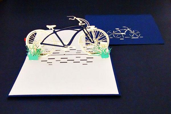 """Fahrrad in Gras""  Pop Up Karte  - LIN ArtDesign -"