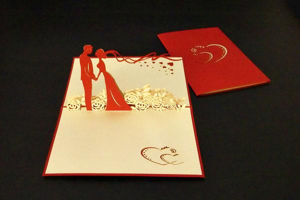 """""""Brautpaar auf Blumenwiese""""  Pop Up Karte  - LIN ArtDesign -"""
