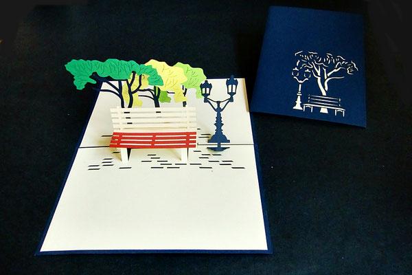 """Parkbank für den Ruhestand""  Pop Up Karte  - LIN ArtDesign -"