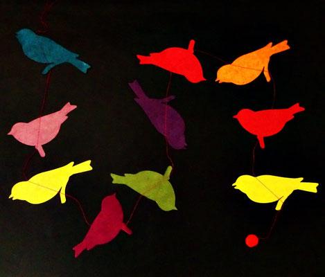 Vögel groß bunt (auch in blau, grün, rot)