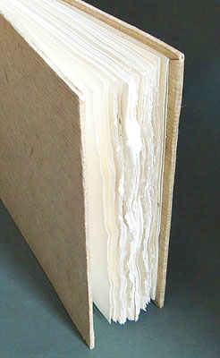 Außenbezug Edgeworthia aus Bhutan, Buchblock aus indischem Baumwollpapier