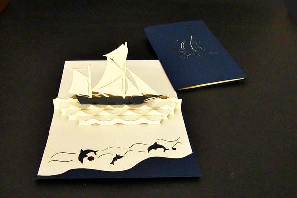 """Segelboot""  Pop Up Karte  - LIN ArtDesign -"