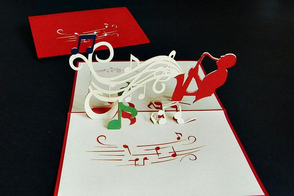 """Das Saxophon""  Pop Up Karte  - LIN ArtDesign -"