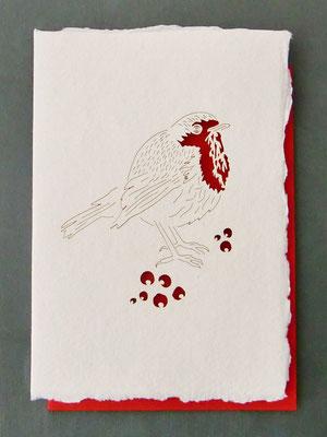 Karte aus Baumwollbütten mit gelasertem Motiv - Rotkehlchen
