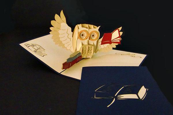 """""""Eule & Buch""""  Pop Up Karte  - LIN ArtDesign -"""